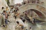 Venezianische Buben beim Bad in einem Kanal