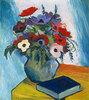 Stillleben mit Anemonen und blauem Buch