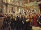 Papst Leo XIII. segnet die Pilger in der Sixtinischen Kapelle
