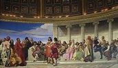 Wandmalerei in der Akademie der schönen Künste, Paris. 1841 (Linker Teil)