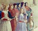 Gruppe von Männern und Frauen. Detail aus dem Fresko Der Hl. Franziskus erweckt