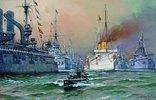 Kaiser Wilhelm II auf der Kaiserjacht Hohenz. bei der Flottenparade