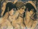 Drei Mädchen-Büsten im Profil