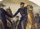 Detail aus: Blüchers Begegnung mit Wellington nach der Schlacht bei Belle-Alliance