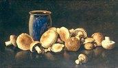 Stillleben mit einer blauen Vase und Pilzen