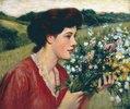 Junges Mädchen mit Blumenstrauss