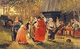 Tanzende junge Frauen im Dorf