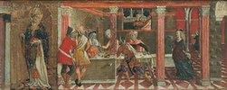 Der Tanz der Salome und Bildnis des Hl. Paulus. Predella eines Altars