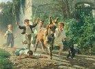 Kinder jagen einen Esel