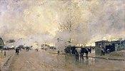 Morgendliche Pariser Straße mit Dampfwolken