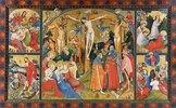Altarflügel - Mitte: Kreuzigung Christi, o.li.: Abendmahl, o.re.: Im Garten Gethsemane, u.li.: Auferstehung Christi, u.re.: Christi Himmelfahrt