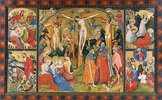 Altarflügel - Mitte: Kreuzigung Christi, o.li.: