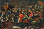 Schlacht zwischen Reitern und Fussvolk