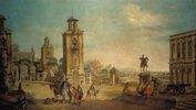 Platz einer Stadt. Ausgeführt zusammen mit Francesco Zugno (1709-1787)
