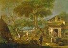 Italienische Landschaft mit bäuerlichen Szenen