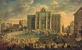 Papst Benedikt XIV. besucht die Fontana di Trevi in Rom