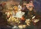 Stillleben mit Früchten, Blumen und Enten