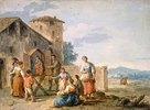 Gruppe von Landleuten vor einem Bildstock