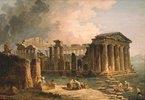 Von Wasser umgebener antiker Tempel. 1780-er Jahre