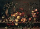 Stillleben mit Früchten, Blumen und Papageien
