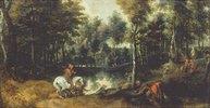 Schimmelreiter in Waldlandschaft. 1620-er Jahre
