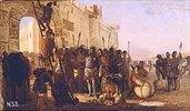 Der Grossfürst Oleg nagelt ein Schild an das Stadttor von Zargrad