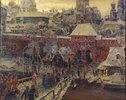 Moskau im 17. Jahrhundert. Die Moskworetzki-Brücke und das Wassertor
