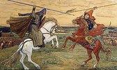 Peresvet und Tschelubey kämpfen auf dem Kulikov-Schlachtfeld