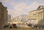 Die Polizeibrücke und der Newsky-Prospekt in St. Petersburg. 1840-er Jahre