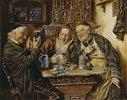 Drei fröhliche Zecher in einer alt- deutschen Stube