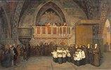Vesper-Szene in der Franziskus-Kirche in Assisi
