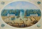 Blick auf den Marly-Wasserfall in Petershof von der Terrasse aus