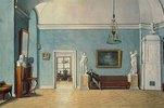 Innenraum mit Kachelofen. 1820-er Jahre