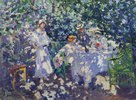 Kleine Gesellschaft in blühendem Garten