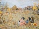 Kindergespräche in herbstlicher Landschaft