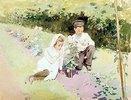 Junges Paar am Rosenbusch