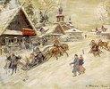 Festliche Schlittenfahrt im Dorf