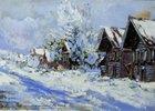 Russisches Dorf im Winter. 20. Jahrhundert