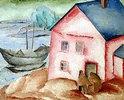 Lila Haus an einem Fluss