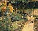 Die Enkelin des Künstlers mit ihrem Kindermädchen im Garten des Landhauses in Wannsee