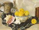 Stillleben mit Muscheln und Äpfeln