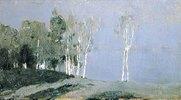 Birkenstämme im Mondlicht. 1890-er Jahre
