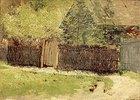 Hütte und Bäume hinter einem Weidenzaun