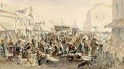 Gebrauchtwaren-Markt in Moskau. 1875.
