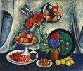 Obststillleben mit Mohn- und Kornblumen
