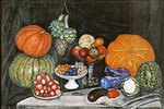 Stillleben mit Kürbissen und anderen Früchten