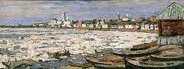 Treibendes Eis auf der Wolga bei Jaroslawl