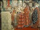Russische Frauen des 17. Jahrhunderts in einer Kirche