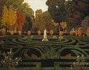 Gartenlabyrinth mit Faun-Statue