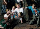 Kinder, mit Puppen spielend. 1864. Detail